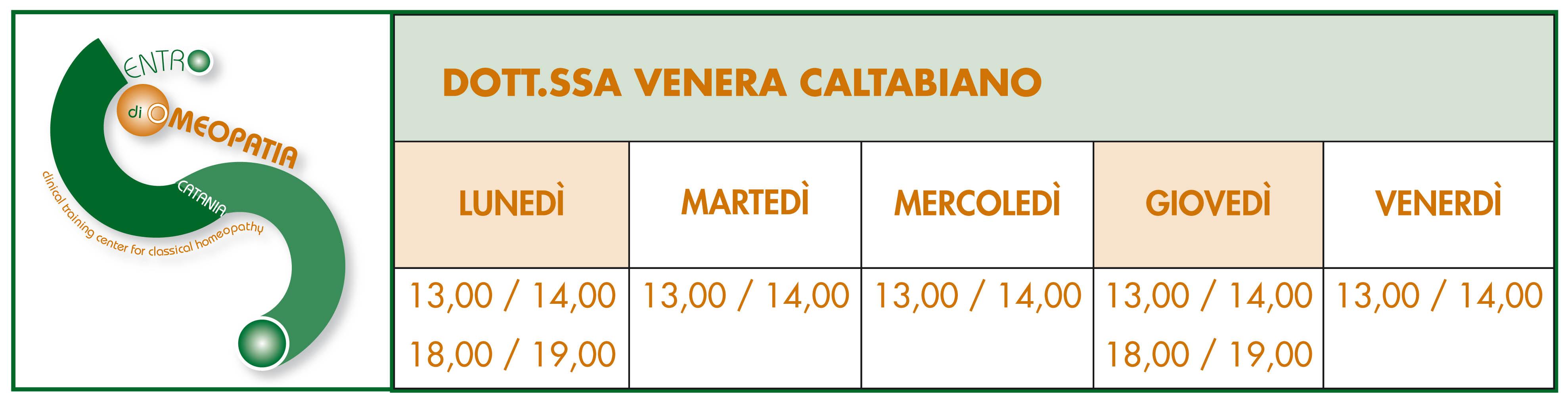 Orari Dott. Venera Caltabiano